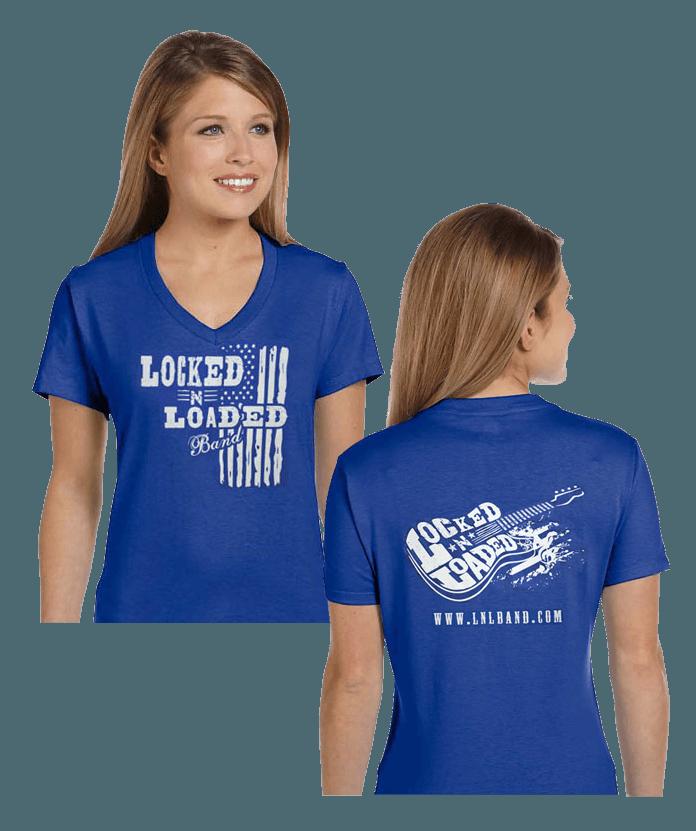 0d06209ef Ladies V-Neck 2018 – Front/Back Logo – Blue | Locked-N-Loaded Band ...